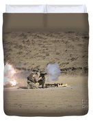 A Soldier Fires A Rocket-propelled Duvet Cover