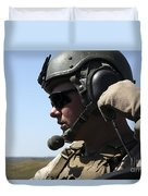 A Soldier Keeps In Radio Contact Duvet Cover by Stocktrek Images