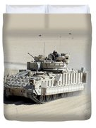 A Soldier Looks Out Of The Top Hatch Duvet Cover