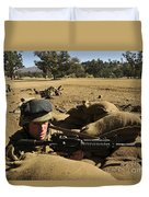 A Soldier Mans His Position At Fort Duvet Cover