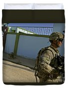 A Soldier Patrols The Streets Of Qalat Duvet Cover