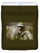 A Soldier Practices Evasion Maneuvers Duvet Cover