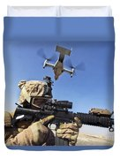 A Soldier Provides Security As An Mv-22 Duvet Cover