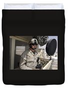 A Soldier Stands Watch At The Camp Duvet Cover