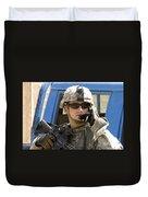 A Soldier Talking Via Radio Duvet Cover by Stocktrek Images