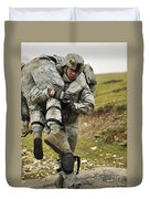 A Soldier Transports A Fellow Wounded Duvet Cover
