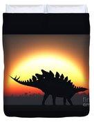 A Stegosaurus Silhouetted Duvet Cover