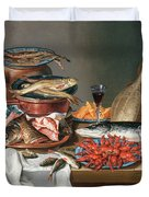 A Still Life Of A Fish Trout And Baby Lobsters Duvet Cover