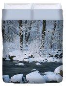 A Stream Running Through Snowy Woodland Duvet Cover