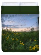A Summer Evening Sky With Yellow Tansy Duvet Cover