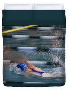 A Swimmer Races Through The Water Duvet Cover