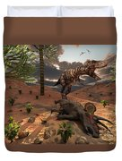 A T-rex Comes Across The Carcass Duvet Cover