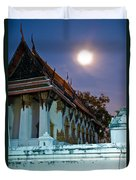 A Tempel In A Wat During A Full Moon Night  Duvet Cover