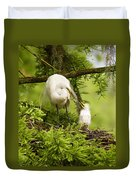 A Tender Moment - Great Egret And Chick Duvet Cover