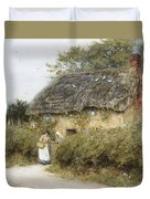 A Thatched Cottage Near Peaslake Surrey Duvet Cover