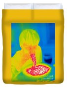 A Thermogram Of A Boy Eating Hot Duvet Cover