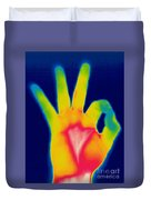 A Thermogram Of A Hand Giving The Ok Duvet Cover