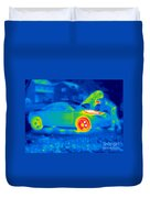 A Thermogram Of A Man Working On A Car Duvet Cover
