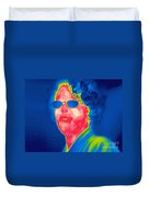 A Thermogram Of A Woman With Glasses Duvet Cover
