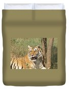 A Tiger Lying Casually But Fully Alert Duvet Cover
