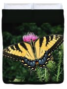 A Tiger Swallowtail Butterfly Feeds Duvet Cover