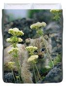 A Tiny Lynx Cub Felis Lynx Peeks Duvet Cover