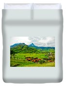 A Town On The Way Duvet Cover