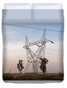 A Transmission Tower Carrying Electric Lines In The Countryside Duvet Cover