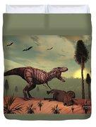 A Triceratops Falls Victim Duvet Cover