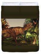 A Tyrannosaurus Rex Runs Duvet Cover by Corey Ford