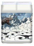 A  Tyrannosaurus Rex Stalks A Mixed Duvet Cover