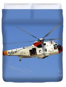 A Uh-3h Sea King Helicopter Flies Duvet Cover