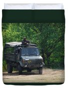 A Unimog Vehicle Of The Belgian Army Duvet Cover by Luc De Jaeger