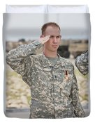 A U.s Army Soldier And Recipient Duvet Cover