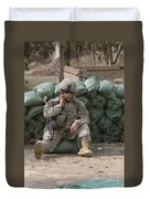 A U.s. Army Soldier Talks On A Radio Duvet Cover