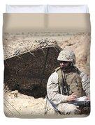 A U.s. Marine Communicates With Close Duvet Cover