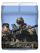 A U.s. Marine Fires A Gmg Automatic Duvet Cover