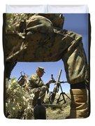 A U.s. Marine Mortarman Trains On An Duvet Cover