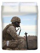 A U.s. Marine Uses A Field Phone Duvet Cover