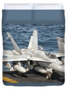 A Us Navy Fa-18c Hornet Tied Duvet Cover by Giovanni Colla