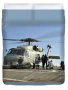 A U.s. Navy Sh-60b Seahawk Helicopter Duvet Cover