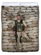A U.s. Police Officer Contractor Leans Duvet Cover