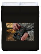 A U.s. Soldier Hits The Button Duvet Cover by Stocktrek Images