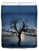 A View At Dawn Of A Silhouetted Tree Duvet Cover