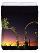 A View At Twilight Of A Boojum Tree Duvet Cover