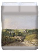 A View Of Osmington Village With The Church And Vicarage Duvet Cover