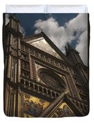 A View Upward At The Duomo Di Orvieto Duvet Cover