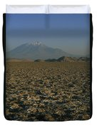 A Volcano Rises Above A Dry Lake Bed Duvet Cover