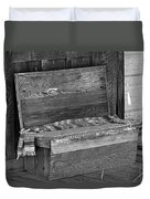 A Weathered Bench Black And White Duvet Cover