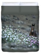 A Wild Horse On A Wildflower Covered Duvet Cover
